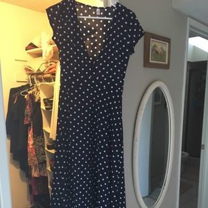 Navy with white polka dots maxi dress!